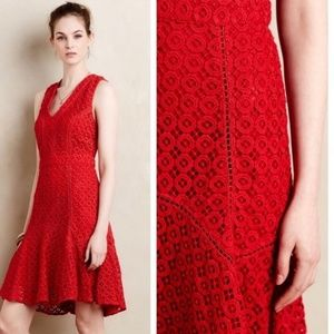 Anthro San & Soni Red lace flounce dress